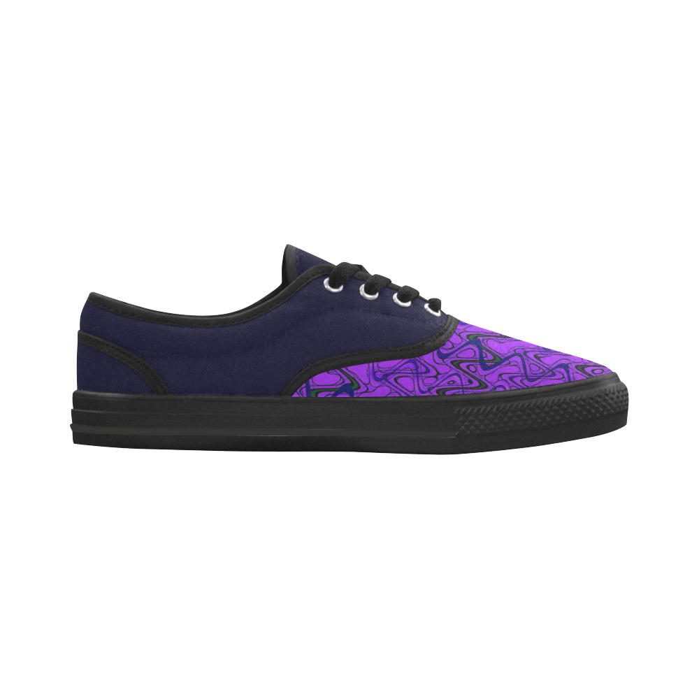 Purple and Black Waves pattern design Aries Men's Canvas Shoes (Model 029)