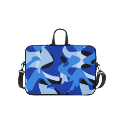 Camouflage Abstract Blue and Black Laptop Handbags 10""