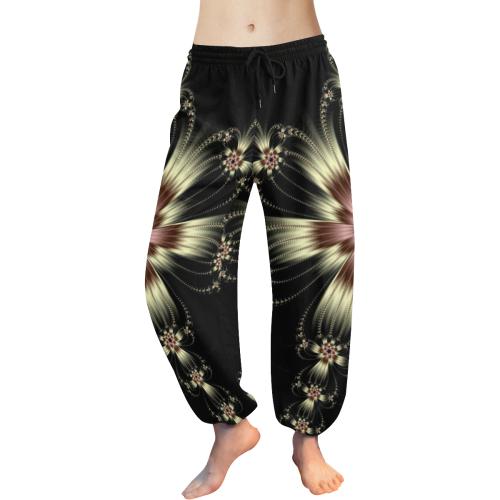 White Flower Burst Women's All Over Print Harem Pants (Model L18)
