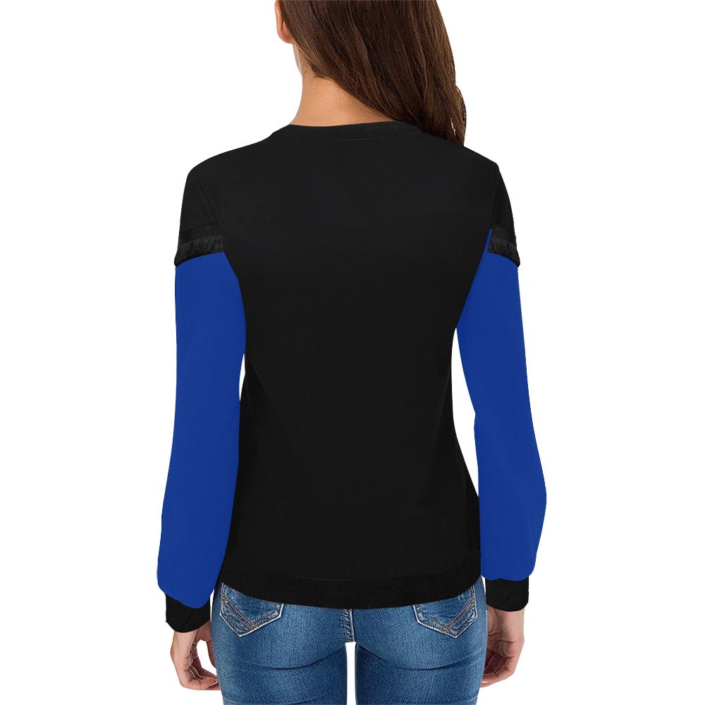 Indigo Sunflower Women's Fringe Detail Sweatshirt (Model H28)