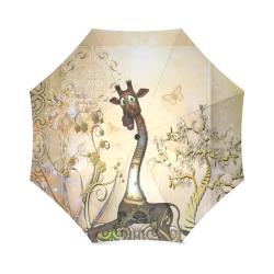 Funny steampunk giraffe Foldable Umbrella (Model U01)