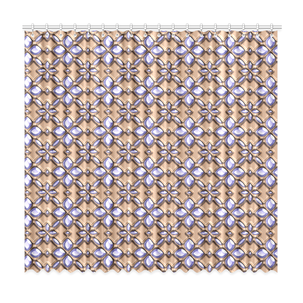 """Blue glass pattern in brown background. Window Curtain 50""""x96""""(Two Piece)"""