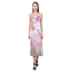 Little Deer in the Magic Pink Forest V-Neck Open Fork Long Dress(Model D18)
