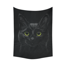 "Black Cat Cotton Linen Wall Tapestry 60""x 80"""
