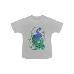 Pretty Peacock Grey Baby Classic T-Shirt (Model T30)