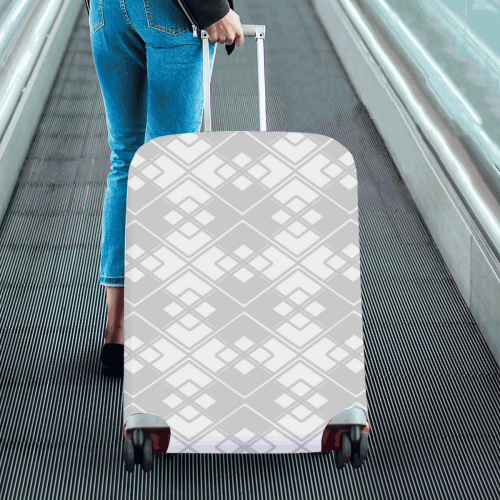 """Abstract geometric pattern - gray and white. Luggage Cover/Large 26""""-28"""""""
