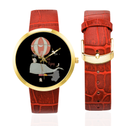 Just a flying Whale Women's Golden Leather Strap Watch(Model 212)