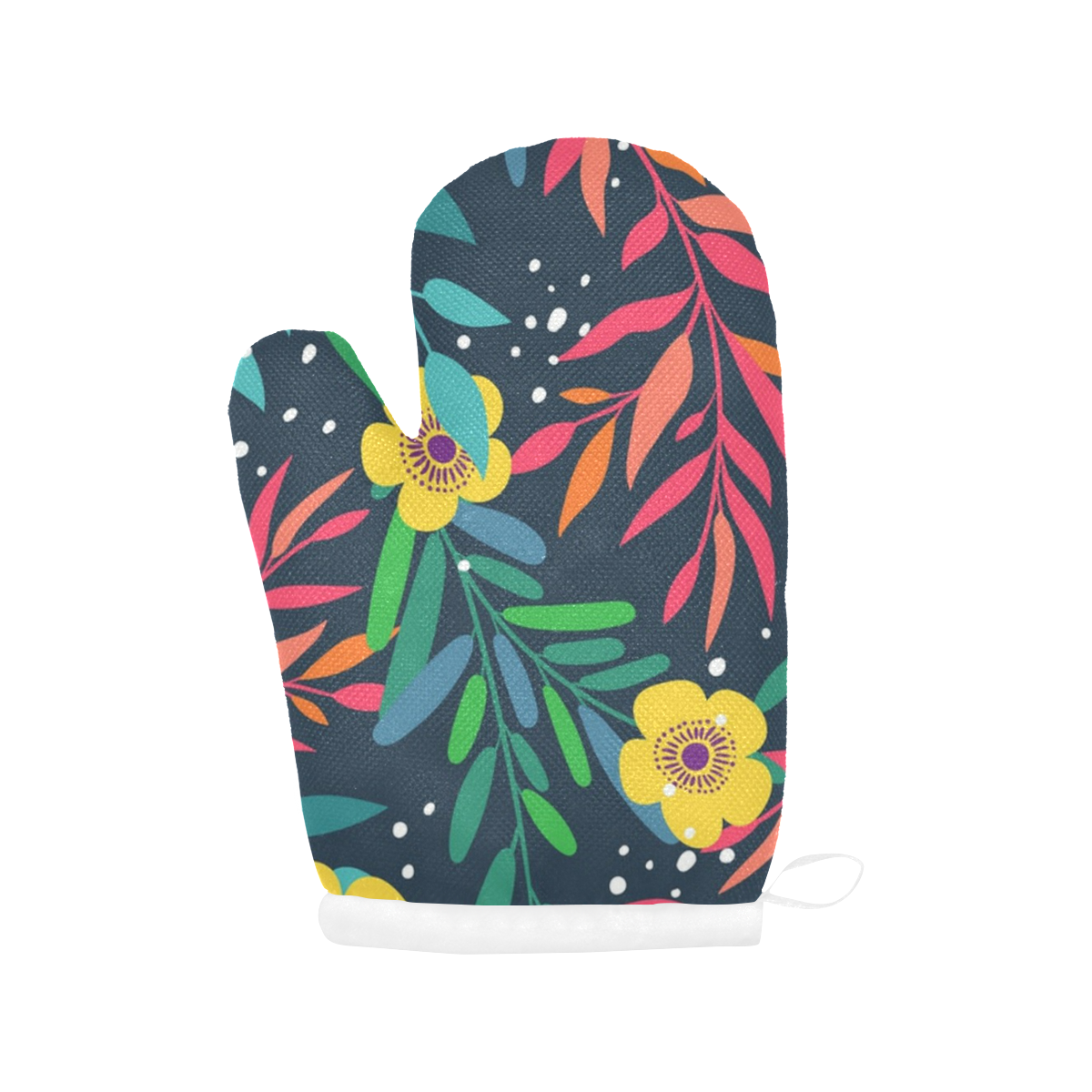 Beautiful Flowers and Leaves Oven Mitt (Two Pieces)