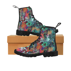 Graffiti Wall and Paint Splatter Martin Boots for Women (Black) (Model 1203H)