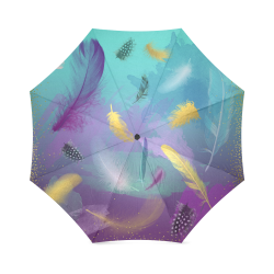 Dancing Feathers - Turquoise and Purple Foldable Umbrella (Model U01)