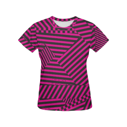 Hot Pink Black Stripes and Checkerboard All Over Print T-Shirt for Women (USA Size) (Model T40)