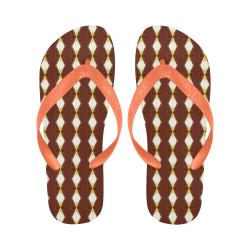 African Cream Diamond Peach Strap Flip Flops for Men/Women (Model 040)
