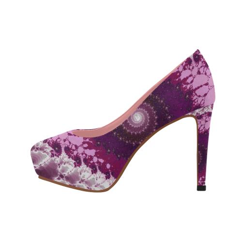 Pink Petals Glass Flower Spiral Women's High Heels (Model 044)