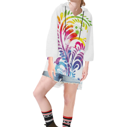 Tropical Flower Feathers Of Hawaii Step Hem Tunic Hoodie for Women (Model H25)