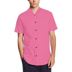 color French pink Men's Short Sleeve Shirt with Lapel Collar (Model T54)