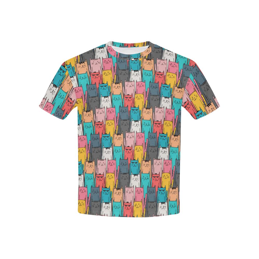 Cartoon Cat Pattern Kids' All Over Print T-shirt (USA Size) (Model T40)