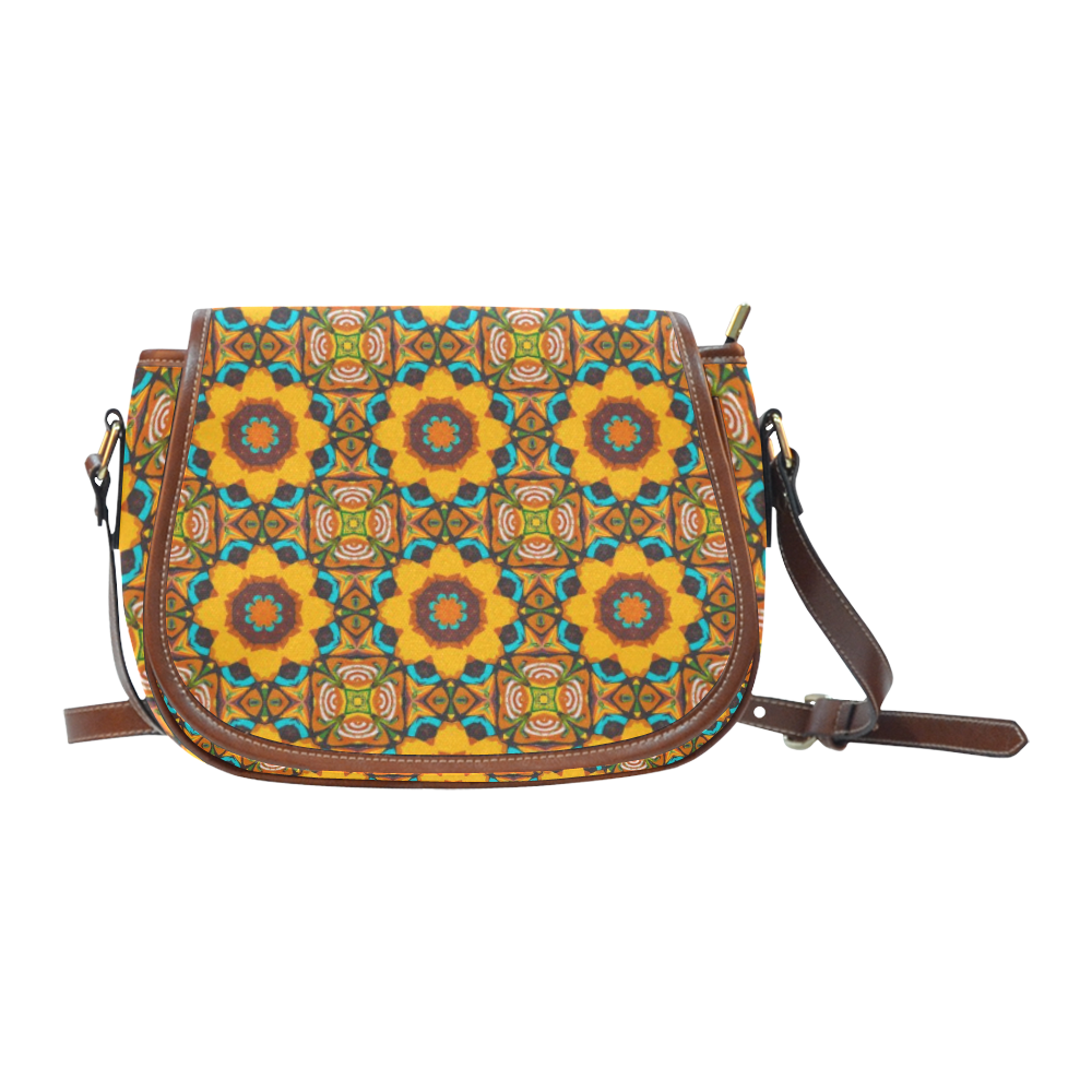 Abstract Floral Motif - Repper Pattern Saddle Bag/Large (Model 1649)