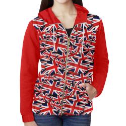 Union Jack British UK Flag (Vest Style) Red All Over Print Full Zip Hoodie for Women (Model H14)