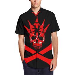 Hustler CRX-Bones Men's Short Sleeve Shirt with Lapel Collar (Model T54)