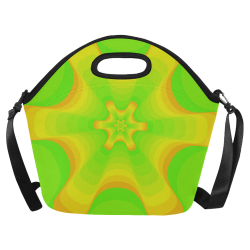 Green yellow shell Neoprene Lunch Bag/Large (Model 1669)