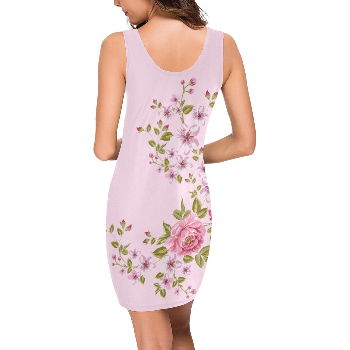 Pure Nature - Summer Of Pink Roses 1 Medea Vest Dress (Model D06)