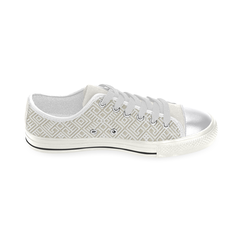 White 3D Geometric Pattern Women's Classic Canvas Shoes (Model 018)