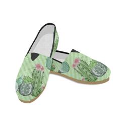 Watercolor Cactus Shoes, Garden Unisex Casual Shoes (Model 004)
