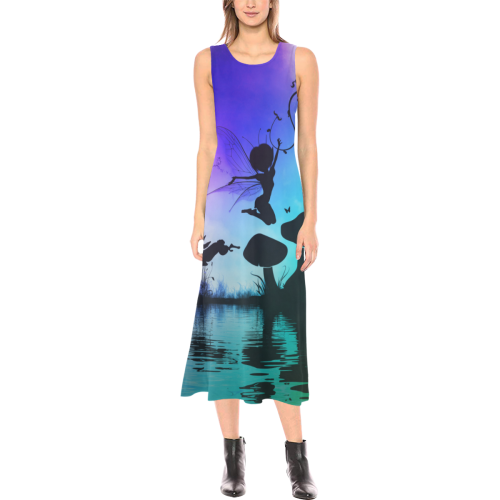 Happy fairy in the night Phaedra Sleeveless Open Fork Long Dress (Model D08)