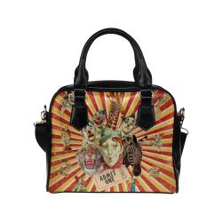 Funny Vintage Circus Clowns Shoulder Handbag (Model 1634)