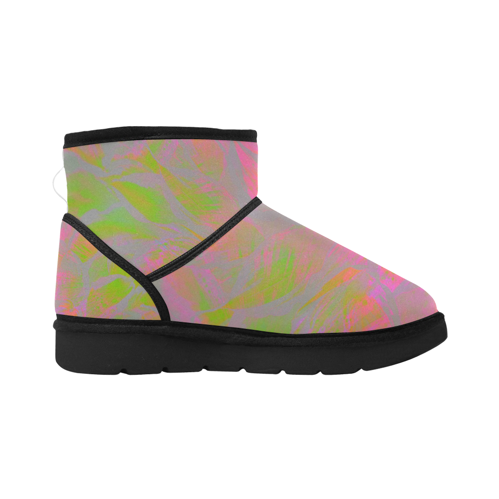 Pastel Maroon Step Night Low Top Unisex Snow Boots (Model 049)