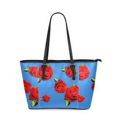 Fairlings Delight's Floral Luxury Collection- Red Rose Handbag 53086c6 Leather Tote Bag/Small (Model 1640)