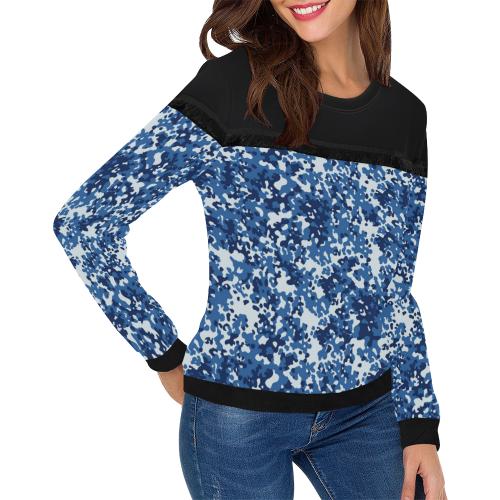 Digital Blue Camouflage Women's Fringe Detail Sweatshirt (Model H28)