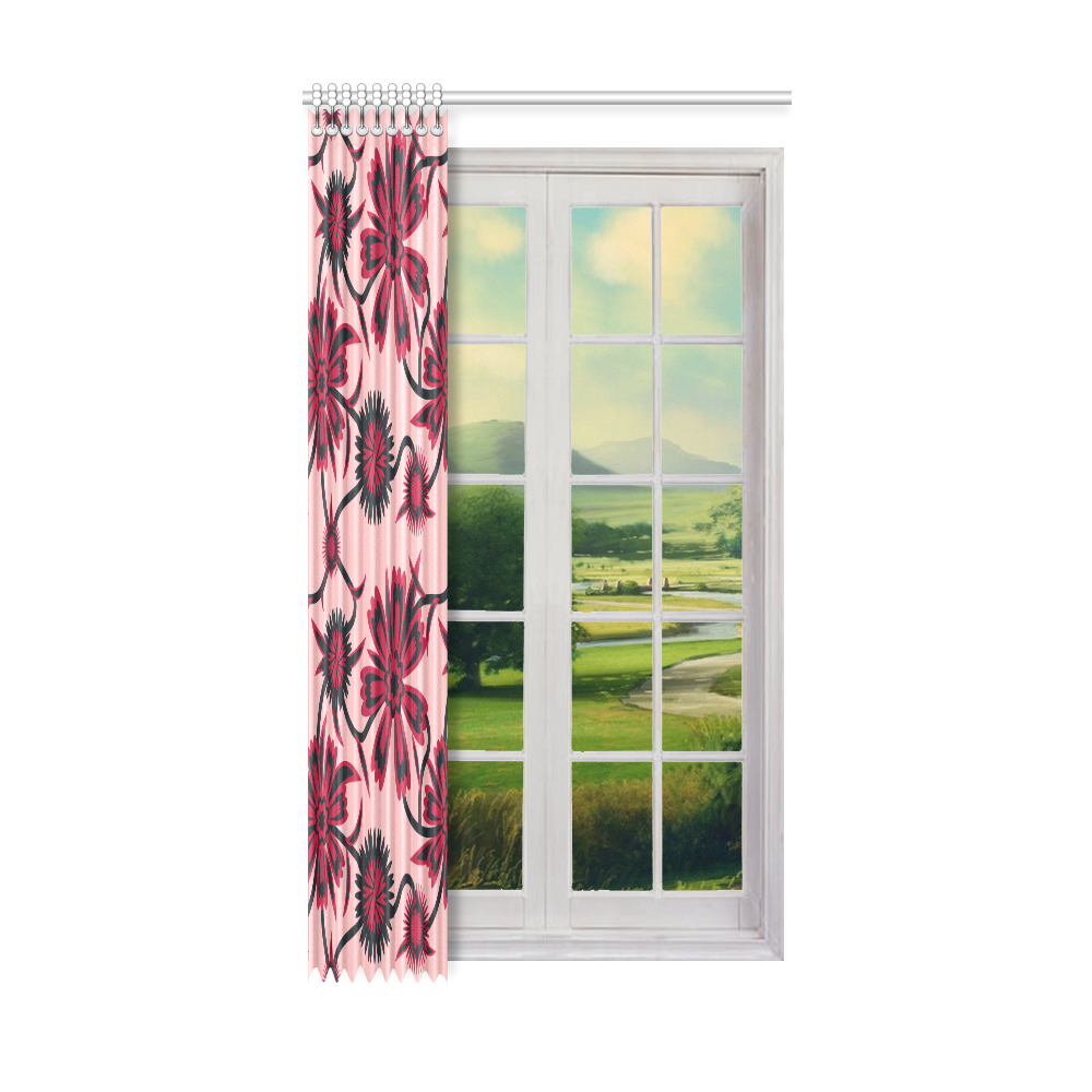 """Red carnations Window Curtain 52"""" x96""""(One Piece)"""