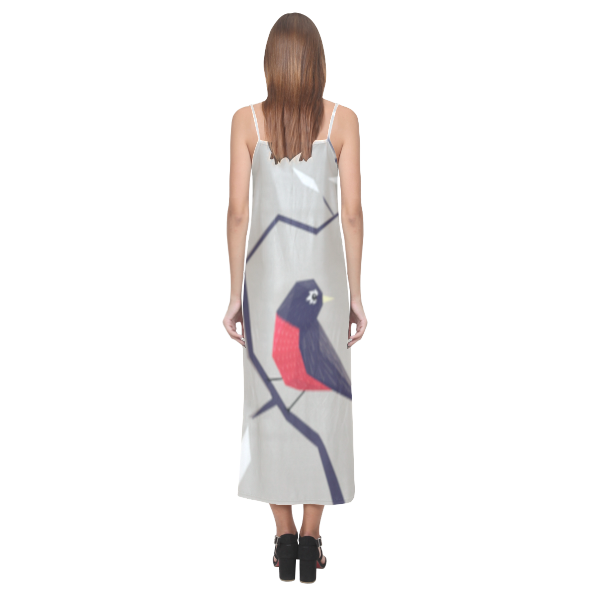 Origami Bird V-Neck Open Fork Long Dress(Model D18)