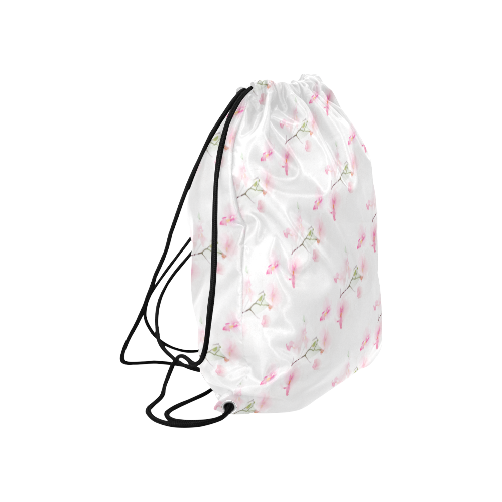 "PATTERN ORCHIDÉES Large Drawstring Bag Model 1604 (Twin Sides)  16.5""(W) * 19.3""(H)"