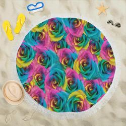 "Iris Blue Cranberry Wattle Circular Beach Shawl 59""x 59"""
