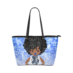 Sparkle Mujka and Femme in Blue Leather Tote Bag/Large (Model 1651)