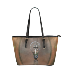 Light bulb with birds Leather Tote Bag/Small (Model 1651)