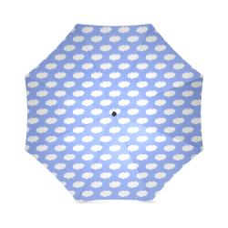 Clouds and Polka Dots on Blue Foldable Umbrella (Model U01)