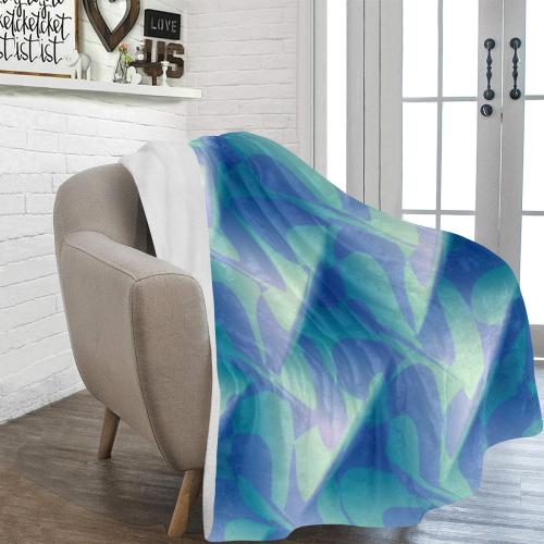 "Subtle Blue Cubik - Jera Nour Ultra-Soft Micro Fleece Blanket 60""x80"""
