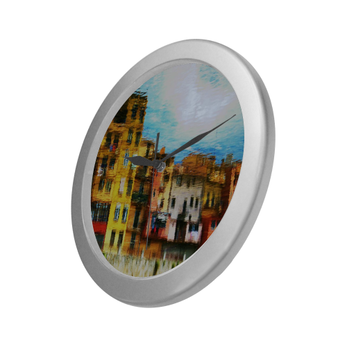Silver Frame Wall Clock Classic Graphic Architecture Style Modern Art Wall Clock Silver Color Wall Clock