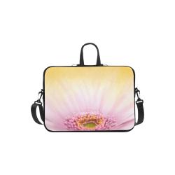 "Gerbera Daisy - Pink Flower on Watercolor Yellow Laptop Handbags 11"""