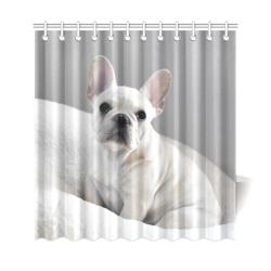 """Cream Frenchie Shower Curtain 69""""x72"""""""