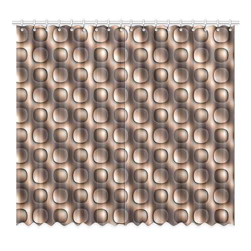 """Brown glossy toned buttons Window Curtain 52""""x96""""(Two Piece)"""